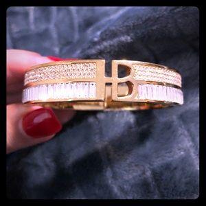 Henry Bendel gold and crystal bracelet